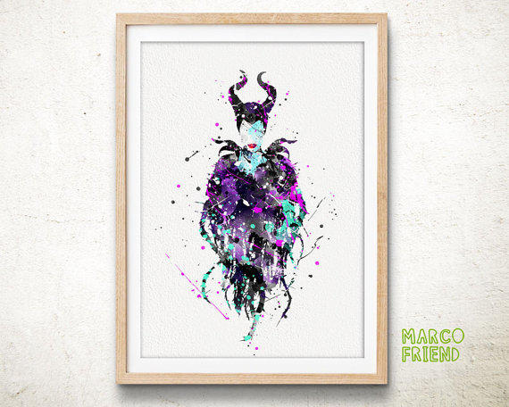 Maleficent Disney Watercolor Art From Marcofriend On Etsy