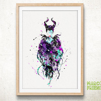 Maleficent Disney - Watercolor, Art Print, Home Wall decor, Watercolor Print, Disney Sleeping Beauty Poster