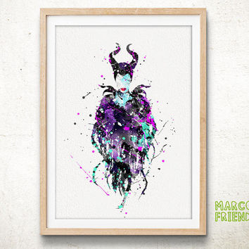 Disney Home Decor For S | Maleficent Disney Watercolor Art From Marcofriend On Etsy