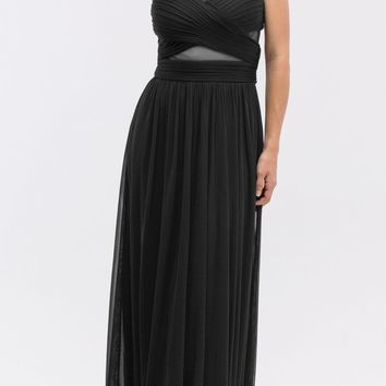 A-line Long Formal Dress Pleated Bodice Black
