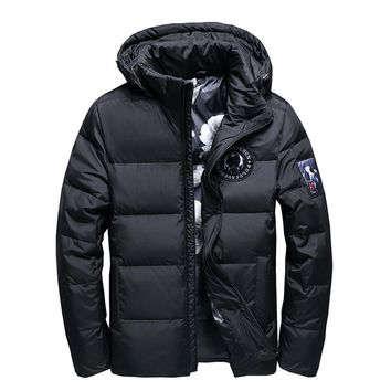 Winter Big Hooded Duck Down Jackets Men Warm High Quality Down Coats Male Casual Winter Outerwer Down Parkas 130wy