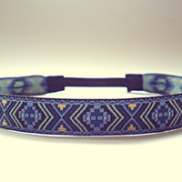 Blue Aztec Print Headband Hippie Headband Tribal Headband Bohemian Hair Accessories Indie Headband Boho Headband