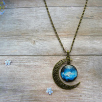 half moon necklace, moon and stars necklace, star pendant necklace, star necklaces, planet necklace, solar system necklace, galaxy jewelry