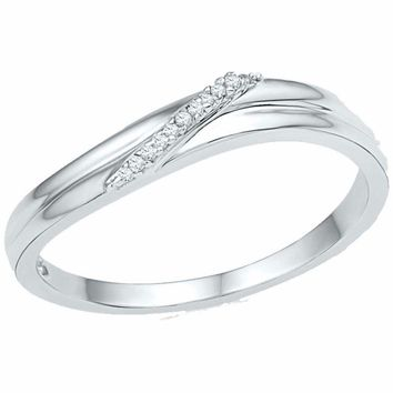 10kt White Gold Womens Round Diamond Simple Single Row Band Ring .03 Cttw