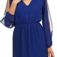 My Beloved Check Chiffon Pleated Dress-Royal Blue
