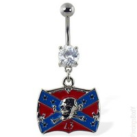 """Navel ring with dangling Rebel flag with skull and """"13"""" 