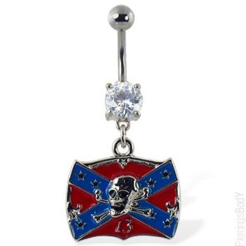 "Navel ring with dangling Rebel flag with skull and ""13"" 
