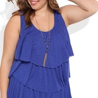 Plus Size Ruffle Tank Top with Gold Beaded Necklace