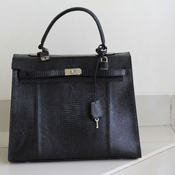 Brie Classic BLACK Genuine Lizard Skin Handbag