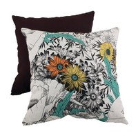 Pillow Perfect Decorative Floral Sketches Square Toss Pillow, Orange/Green
