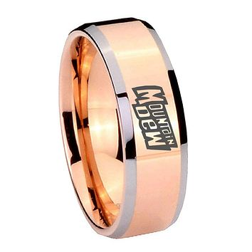 10MM Beveled Mountain Dew Rose Gold IP 2 Tone Tungsten Carbide Men's Ring