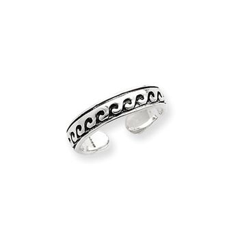 Antiqued Wave Toe Ring in Sterling Silver
