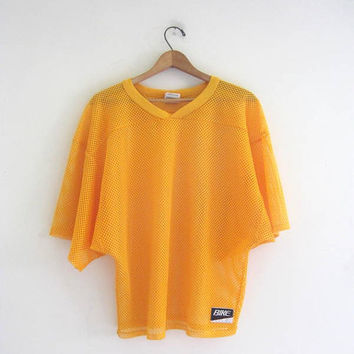 Vintage yello mesh football jersey // athletic sports muscle shirt // fishnet