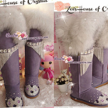 PROMOTION WINTER Queen Style Knee High Bling and Sparkly White Fur SheepSkin Wool BOOTS