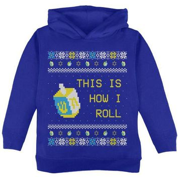DCCKU3R Hanukkah This is How I Roll Dreidel Ugly Christmas Sweater Toddler Hoodie