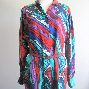 Escada tunic blouse silk vintage Escada by Margaretha Ley woman blouse long sleeve vintage fashion 80s