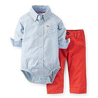 Carter's Newborn-24 Months Poplin Bodysuit & Twill Pant Set - Blue