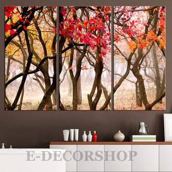 Large Wall Art Autumn Forest Canvas Print | Tree Branches Canvas Painting | Tree Branches Canvas Print