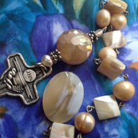 Shells Pearls Pocket Rosary Single Decade One Decade Tenner Catholic Rosary