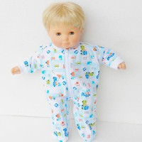 "15 inch Bitty Baby Clothes, Pajamas Sleeper, Cute ""Construction Trucks"" pjs, 15 inch Bitty Baby and Twin Doll"