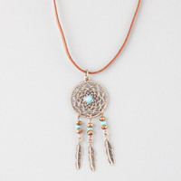 Full Tilt Suede Cord Dreamcatcher Necklace Brown One Size For Women 25359640001