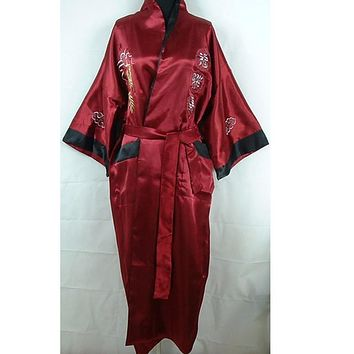 Hot New Burgundy Black Chinese Men's Silk Satin Reversible Robe Embroidery Bathrobe Two-Face Sleepwear One Size ZR31