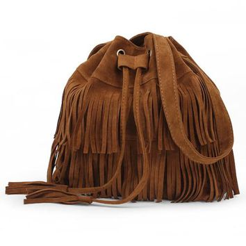 Vintage Tassel Bags  Drawstring  Bucket Bag  Bolsas Femininas Shoulder Crossbody Messenger Bag
