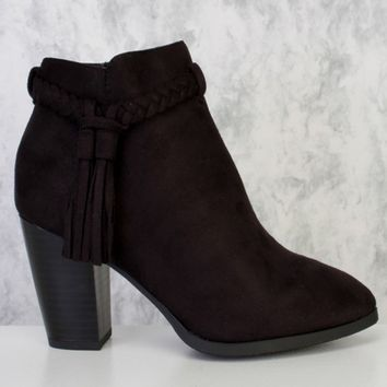 Black Braided Fringe Pointy Toe Single Sole Chunky High Heel Booties Faux Suede