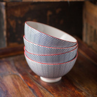Porcelain Bowl with Scroll Pattern and Red Trim