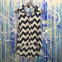 Black and white chevron high low backless tank top
