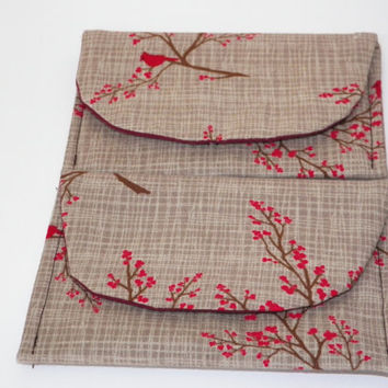 Winter Cardinal Branches Gift Card Holder Case Set of Two