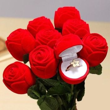 ac NOVQ2A Red Rose Flower Engagement Wedding Ring Earring Jewelry Display Gift Box