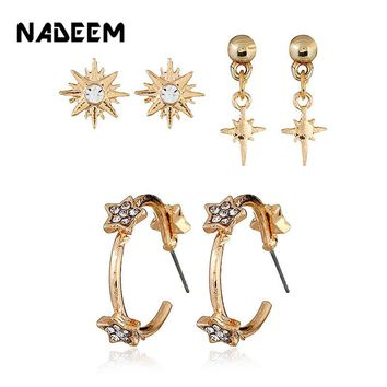 3Pairs/Set Small Crystal Hexagon Star Cute Stud Earrings Set Punk Gold Rhinestone Stud Earrings Set For Women Wedding Jewelry