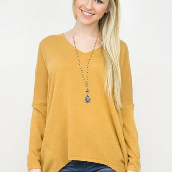 V- Neck Dolman Knit Sweater Top/ GoldenRod
