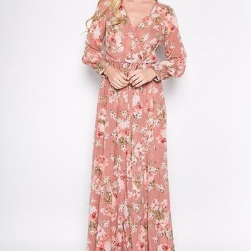 """Meesh"" Chiffon Floral Wrap Mauve Maxi Dress"