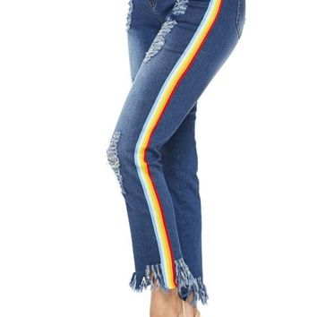 Over the Rainbow Distressed Jeans