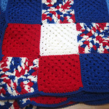 Red White Blue Patriotic Crocheted Afghan Extra Large