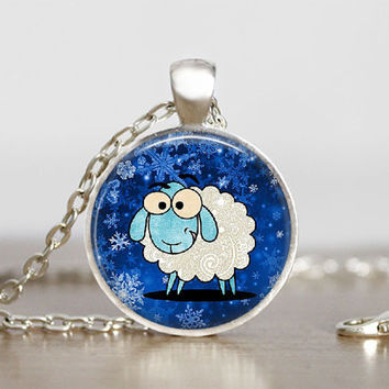 Glass Tile Pendant Sheep Necklace Cartoon Pendant Jewelry For Kids Sheep Pendant for Kids Children's Jewelry 1 Inch Round