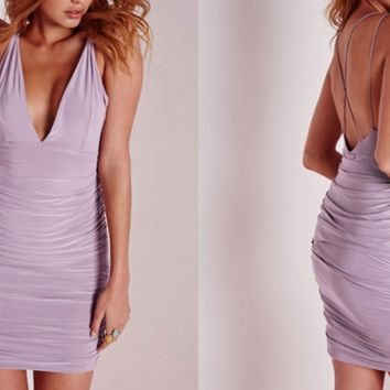 Lavender Korinne Fitted Party Dress