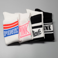 """Hot!!!!!! Factory Outlet 100% Cotton """"Women being express it in Pink Socks, sports leisure beautiful Socks  A set for THREE pairs"""