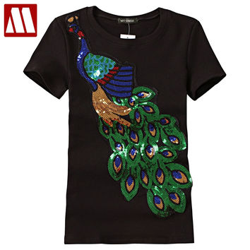2017 Noble Elegant T shirt Women Peacock Sequined Sequins T-shirt Womens Fashion New Top Tee Shirt Femmer Lady Sakura Clothes