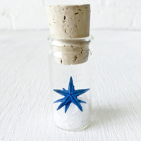 Blue Starfish Sea Salt Glass Cork Vial Specimen