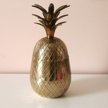 "Vintage Large 10"" Brass Pineapple Ice Bucket / Trinket Box"