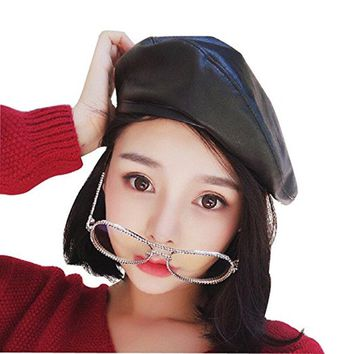 2017 Women's Faux Leather Beret Solid Flat Top PU Berets Hats French Style Cap