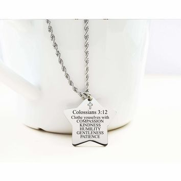 Star Tag Necklace - COLOSSIANS 3:12