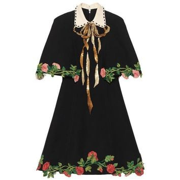 gucci women temperament fashion retro lapel short sleeve flower embroidery cloak bow mini dress