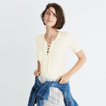Ribbed Lace-Up Bodysuit : | Madewell