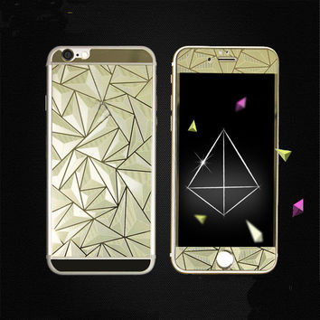 2pcs/lot Front+Back 3D Diamond Mirror Color Tempered Glass Screen Protector Protective Film for Iphone 5 5S Case of iphone5S