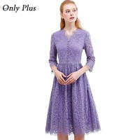 ONLY PLUS womens Purple Lace Dress 2017 Autumn Elegant V-Neck Lace Up Long Party Dress A-Line Three Quarter Sleeve Vestido