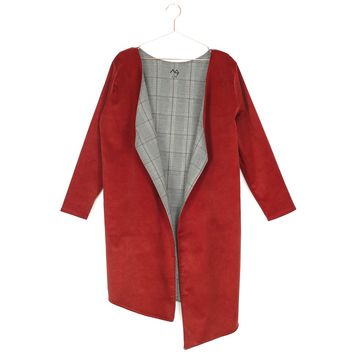 Asymmetric Corduroy Coat